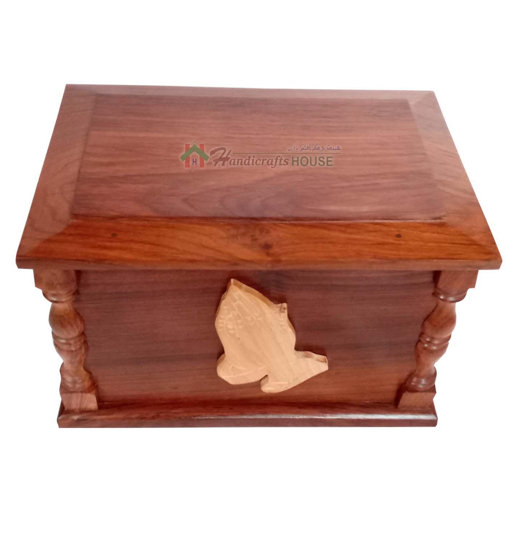 3d hands praying wood urns