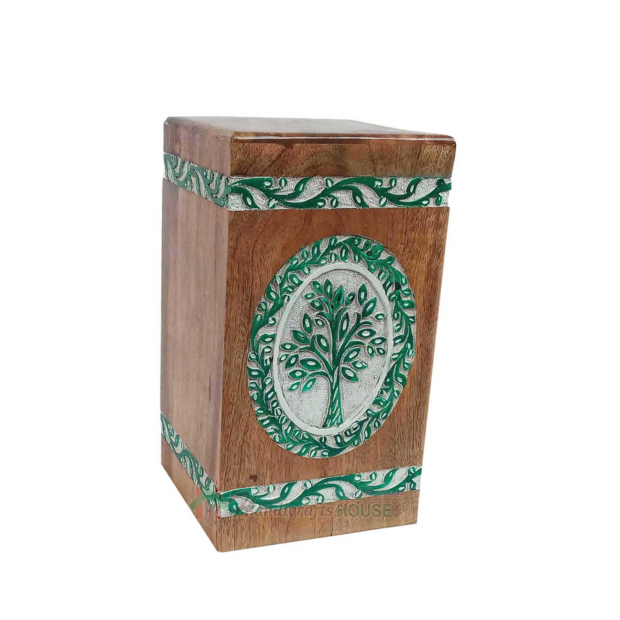 Urns for Cremated Remains, Wood Turned Ashes Urn, Decorative keepsake, Wooden Adult Casket