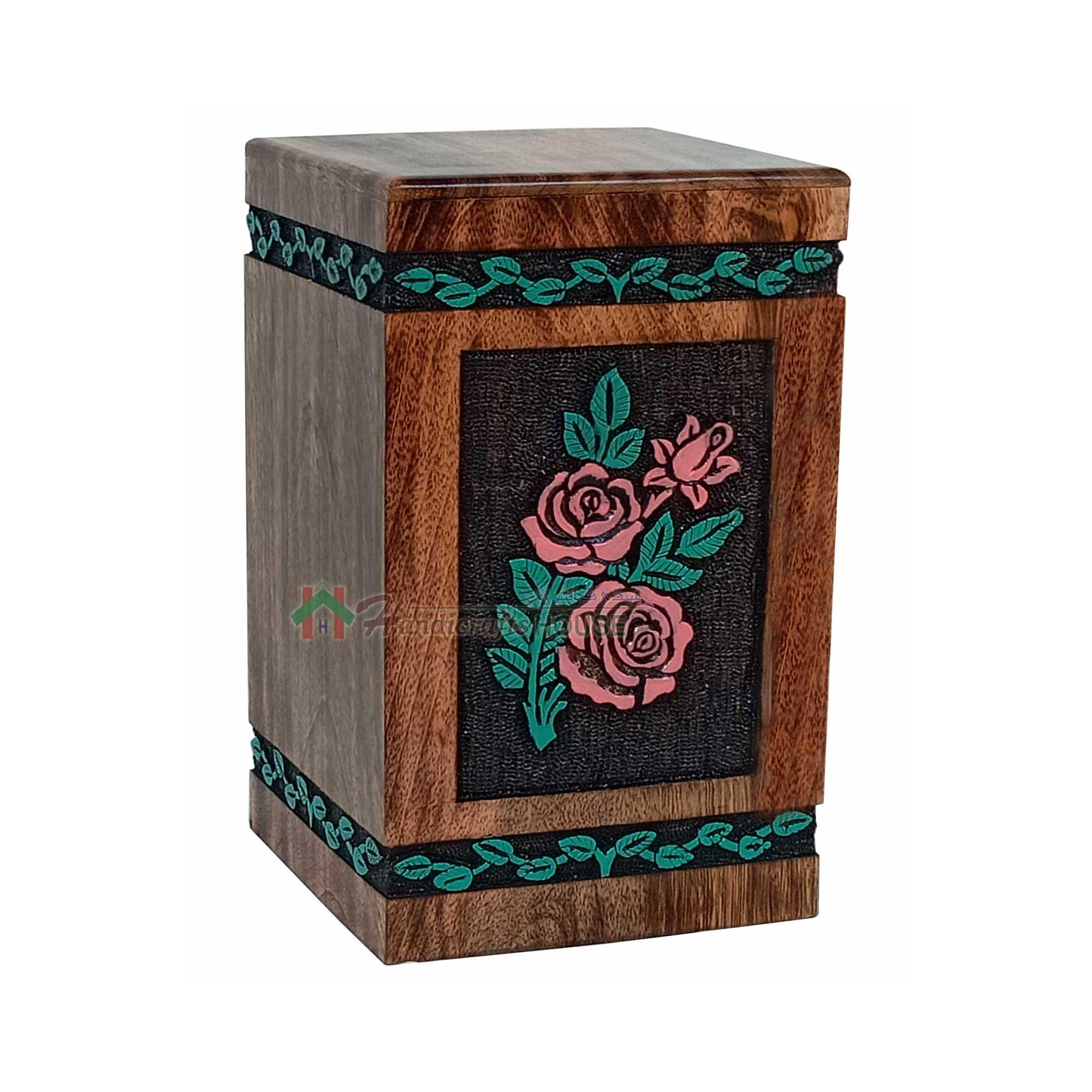 Rose Flower Hands Engraving Wooden Cremation Urns, Wood Funeral Urn for Human or Pet Ashes Adult - Hardwood Memorial Large Box 250 cu/in (Large)