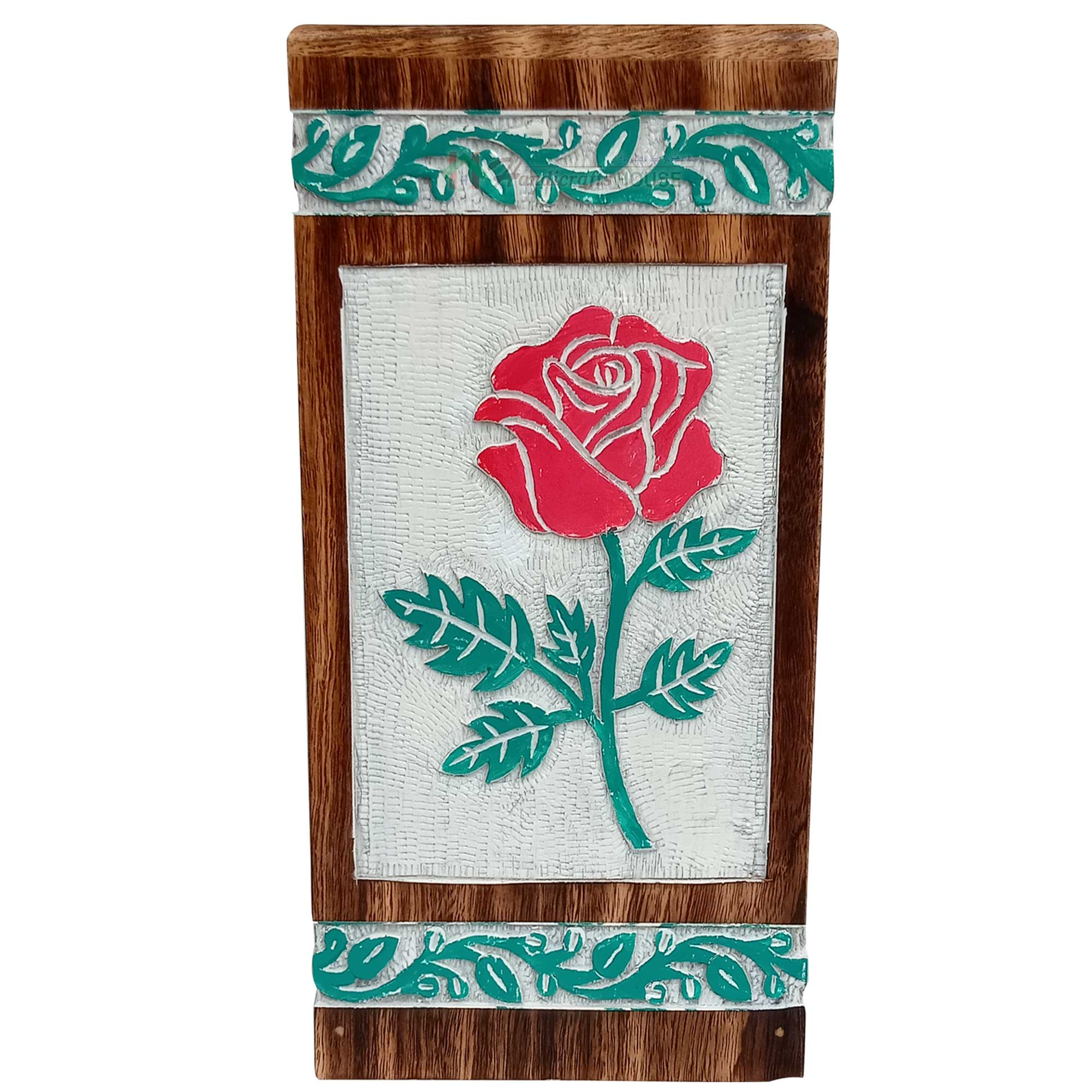Hands Engraving Rose Flower Wooden Cremation Urns, Wood Funeral Urn for Human or Pet Ashes Adult - Hardwood Memorial Large Box in White, Green and Red Color