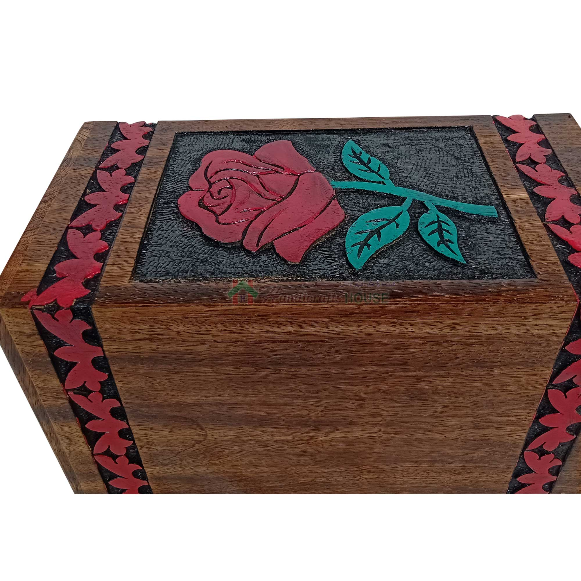 Hands Carving Flower Wooden Cremation Urns, Solid Wood Burial Box for Human or Pet Ashes Adult - Hardwood Memorial Large Urn for Loved One and Father