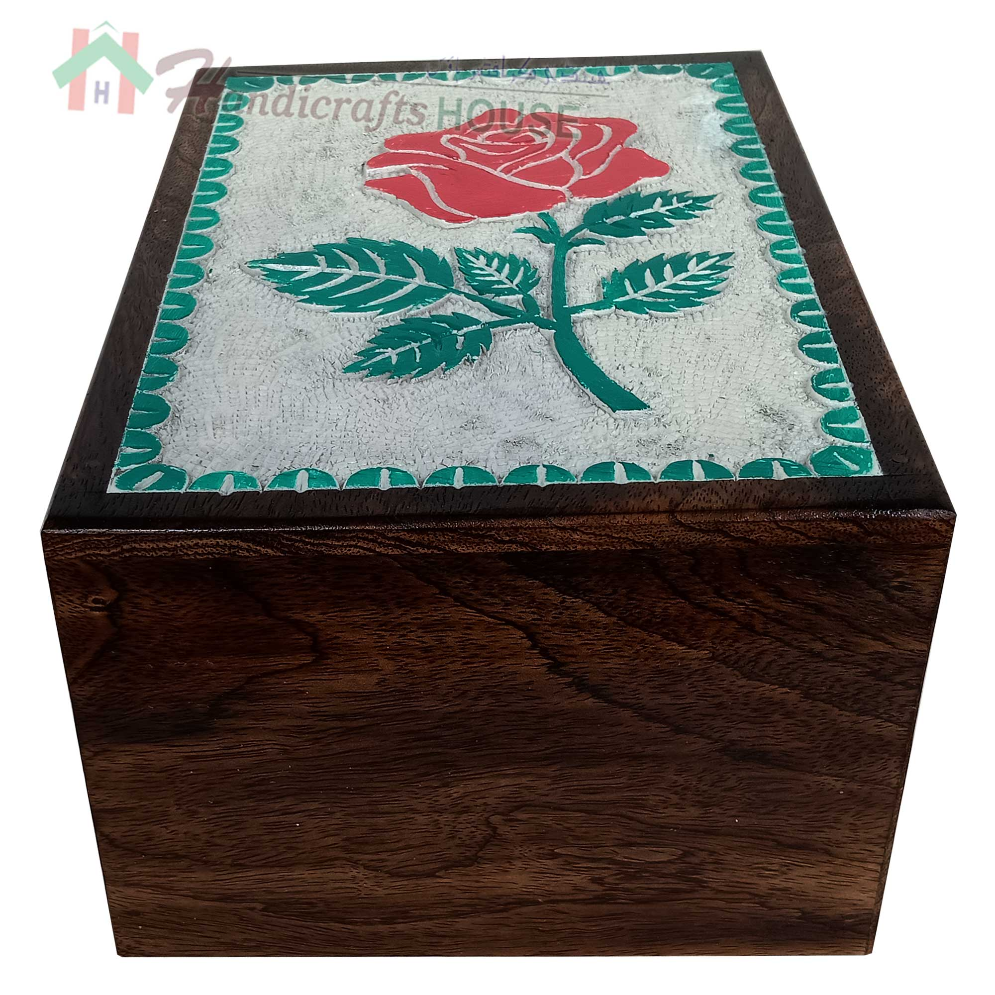 White and Green ROSE FLOWER Wooden Cremation Urns, Wood Funeral Urn for Human or Pet Ashes Adult - Hardwood Memorial Large Box